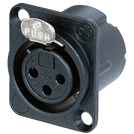 Neutrik NC3FD-LX-B 3-Pin Female XLR Panel/Chassis Mount Connector - Duplex Ground Contact - Black/Gold