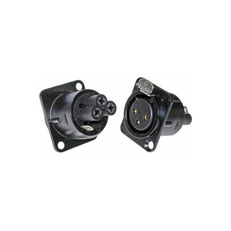 Neutrik NC3FD-S-1-B 3-Pin Female XLR Panel/Chassis Mount Connector - Screw Terminals - Black/Gold