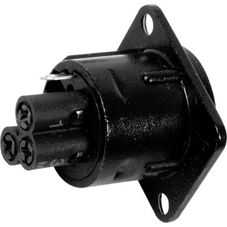 Neutrik NC3MD-S-1-B 3-Pin Male XLR Panel/Chassis Mount Connector - Screw Terminal - Black/Gold