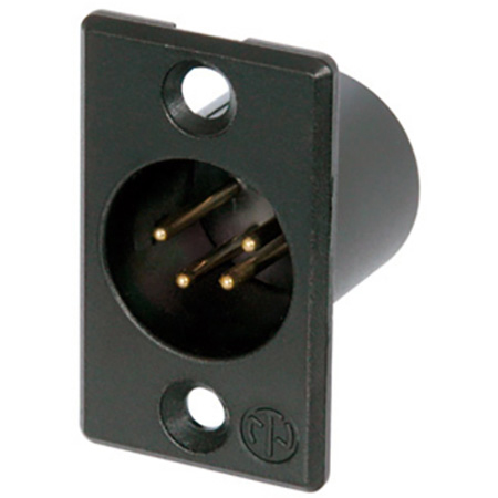 Neutrik NC4MP-B 4-Pin XLR Male Panel/Chassis Mount Connector - Black/Gold