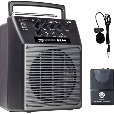 NADY WA-120BT Wireless Portable Compact PA Full-Range Bluetooth Speaker System with Omni Lavalier Mic