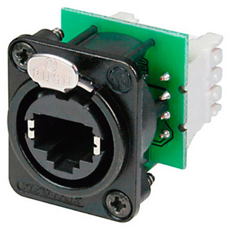 Neutrik NE8FDV-Y110-B etherCON Vert IDC110 Punchdown Panel Mount Jack - D Shape - Black