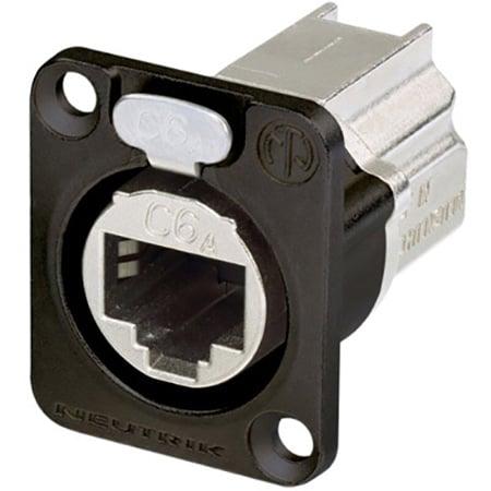 Neutrik NE8FDX-P6-B D-shape CAT6A etherCON Panel Connector - Shielded / Feedthrough - Black Housing
