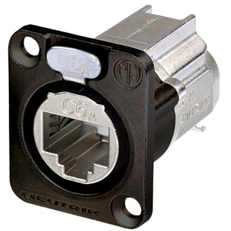 Neutrik NE8FDX-Y6-B D-shape CAT6A etherCON Panel Connector - Shielded / IDC Termination - Black Housing