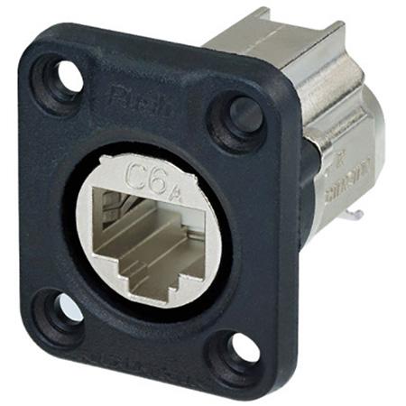 Neutrik NE8FDX-Y6-W D-shape CAT6A Panel Connector - Shielded/ IDC Termination/ Rubber Sealing / IP65 When Mated - Nickel