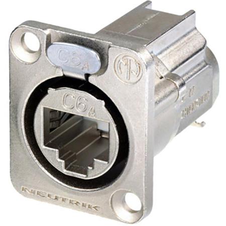 Neutrik NE8FDX-Y6 D-shape CAT6A etherCON Panel Connector - Shielded / IDC Termination - Nickel Housing