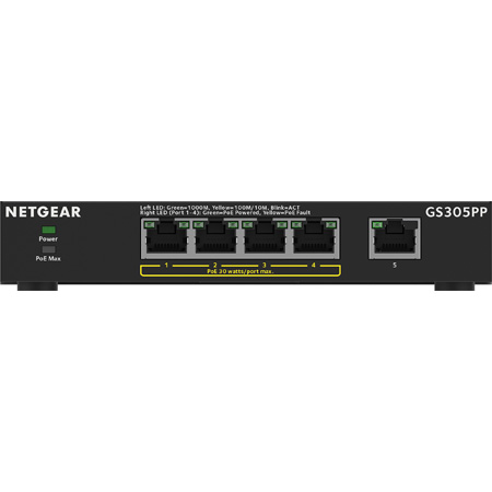 NETGEAR GS305PP-100NAS 5-Port Gigabit Ethernet PoEplus Unmanaged Switch - 83W (GS305PP)