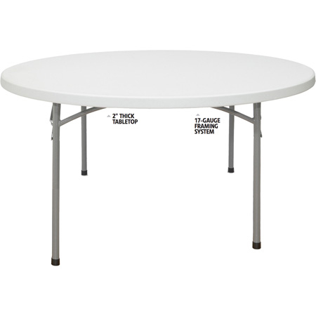 BT-60R Plastic Blow Molded Grey Round Folding Table 60in