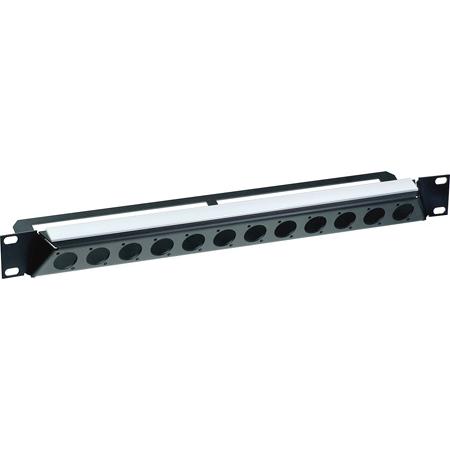 Neutrik NZP1RU-12 30-Degree 12-Port D-Shape Connector Panel - Black