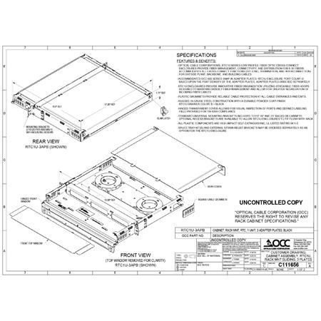 OCC RTC1U-3APB RTC Series - Rack Mount Fiber Enclosures