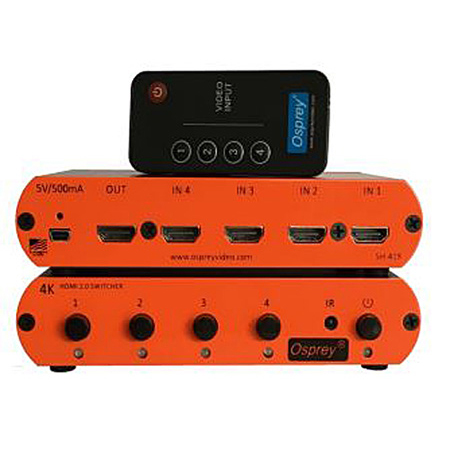 Osprey SH-41R HDMI 2.0 (4k / 60fps) 4:1 Switcher with Remote HDCP Pass Through