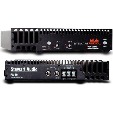 Stewart Audio PA-50B 2-Channel Half Rack Amplifier - 25W x 2 at 8 Ohm