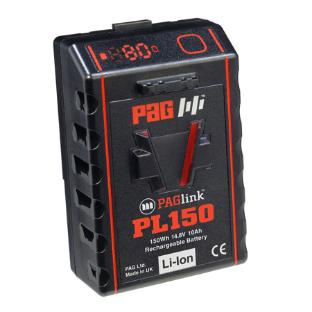 PAG PAGlink PL150T 14.8V Time Battery Rechargeable V-Mount Li-Ion