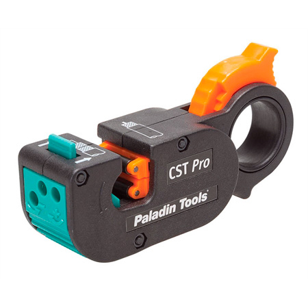 Greenlee PA1280 CST Pro 3-Level Coaxial Cable Stripper with Green Blade Cassette