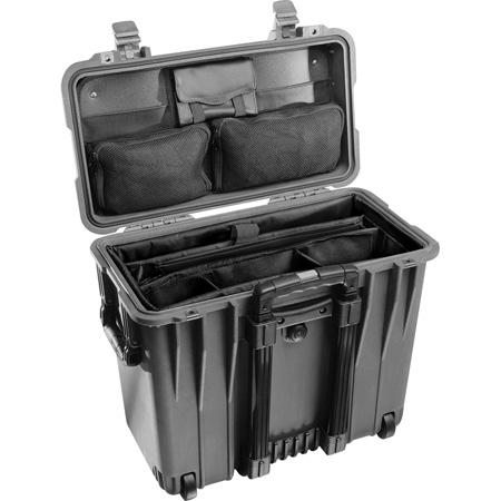Pelican 1447 Protector Case with Utility Padded Office Divider Set and Lid Organizer - Black