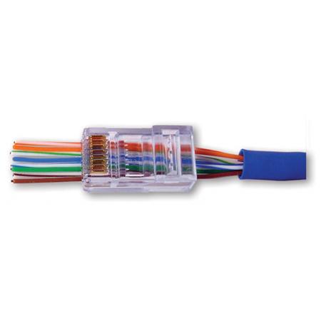 Platinum Tools 100011C EZ-RJ45 Cat 6 Connectors & Strain Reliefs - Clear 30 each