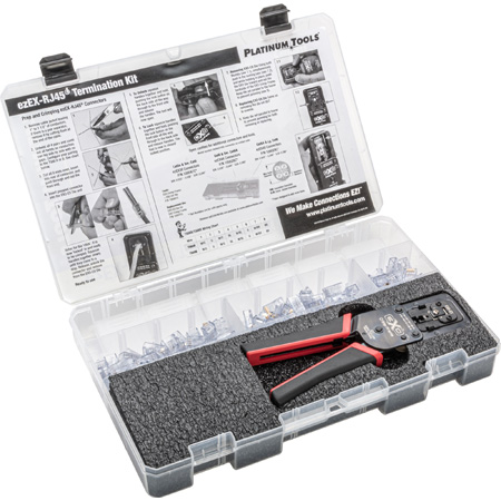 Platinum Tools 90187 ezEX-RJ45 Cat5-5E Cat6 Cat6A Field Termination Kit