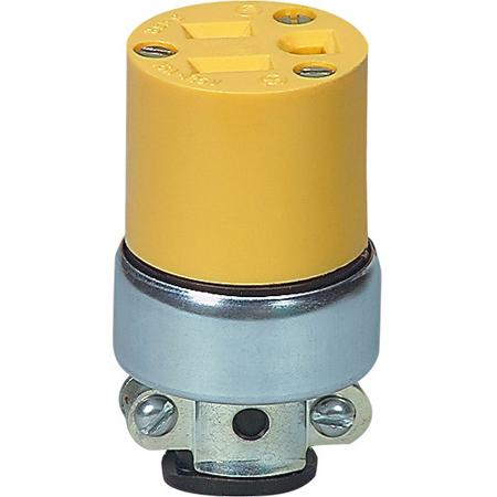 15A-125V NEMA 5-15R Commercial Grade Vinyl Armored 3-Prong Receptacle Yellow
