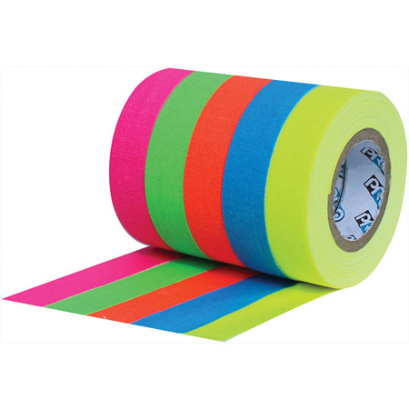 Pro Tapes 001UPCSPIKE6MFL Pro Pocket Spike 1/2 x 6 Yards - Stack of Fluorescent Blue/Green/Orange/Pink/Yellow - 5 Pack