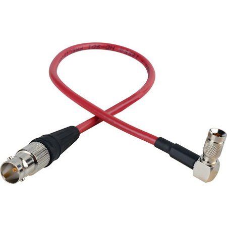 Laird RD1-DINABF-1RD 3G-SDI Right Angle DIN 1.0/2.3 to BNC Female Video Adapter Cable - 1 Foot Red