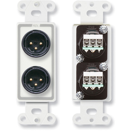 RDL D-XLR2M Dual XLR 3-pin Male Jacks on Decora© Wall Plate with terminal block on rear