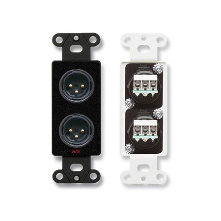 RDL DB-XLR2M Dual XLR 3-pin Male Jacks on Decora Wall Plate - Terminal block connections on rear