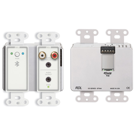 RDL DD-BTN44 Wall-Mounted Bi-Directional Line-Level and Bluetooth Audio Dante Interface (White)