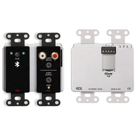 RDL DDB-BTN44 Wall-Mounted Bi-Directional Line-Level and Bluetooth Audio Dante Interface (Black)