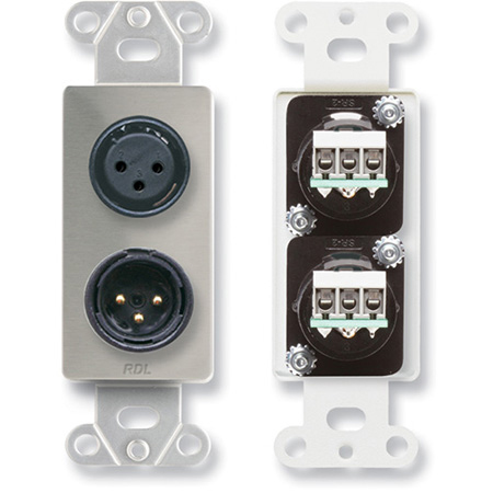 RDL DS-XLR2 XLR 3-pin Female & 3-pin Male on Decora Wall Plate with Terminal Block connections on rear