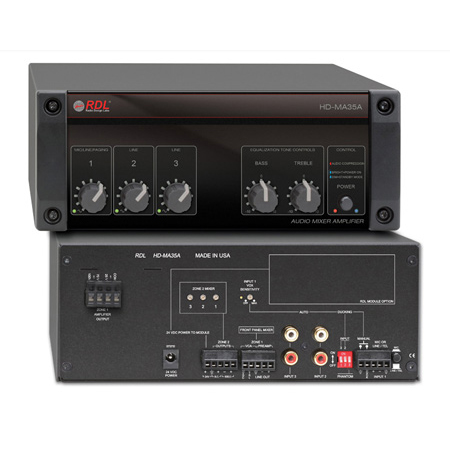 RDL HD-MA35A 35 Watt Mixer Amplifier with Power Supply - Constant Voltage Output 25 V 70 V or 100 V