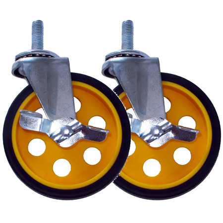 RocknRoller RCSTR5X125 5 Inch G-force Caster with Brake for R8 / R10 - 2 Pack - Yellow Hub