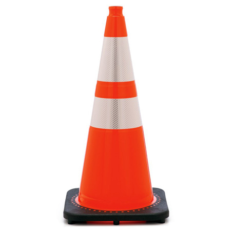 28 Inch Wide Body Traffic Safety Cone with EZ Grip Top and Reflective Collars