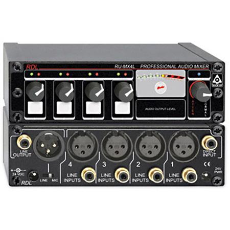 RDL RU-MX4L Pro 4-CH. Line Level Mixer Microphone & Line Output