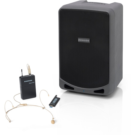Samson XP106WDE Rechargeable Battery Powered Portable PA - 6 Inch 100 Watts with Bluetooth & DE5 Headset Mic