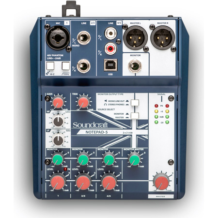 Soundcraft Notepad-5 5-Channel Analog Mixer with 1 Microphone Preamplifier Direct Input Phantom Power & USB Connectivity