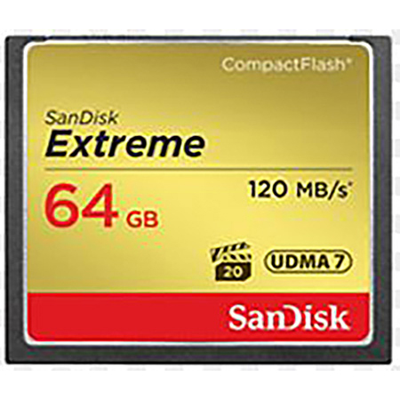Sandisk Extreme SDCFXS-064G-A46 64GB Compact Flash Card with 400x Speed and 120MBS Read 60MBS Write Speed