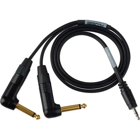 Sescom SES-BMC-FR-3 Blackmagic Cinema Camera to Zoom/Tascam/Roland Audio Cable Dual 1/4 TS Mono Male to 3.5mm TRS Balanc