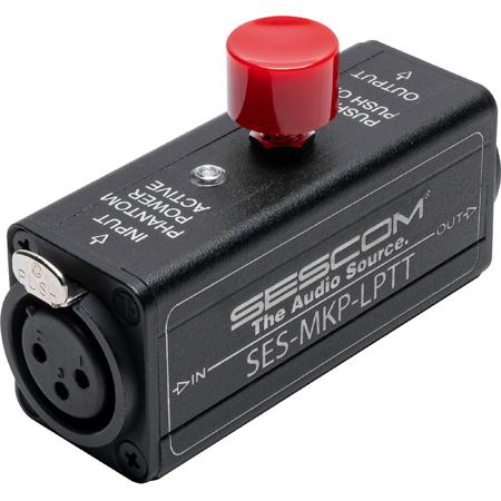 Sescom Inline Rugged XLR Push-To-Talk Latching Button PTT With Phantom-Power/Live LED