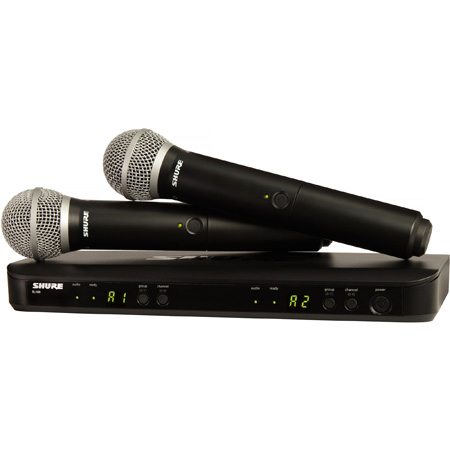 Shure BLX288/PG58-H9 Dual Channel Handheld Wireless Mic System with 2 PG58 Mic Transmitters - H9 512-542 MHz