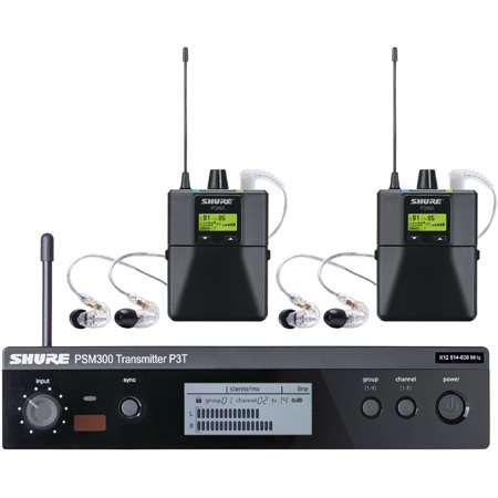 Shure PSM300 TWIN PACK PRO G20 Wireless Monitor System with 2x P3RA Body Packs / 2x Pairs of SE215 Dynamic Earphones