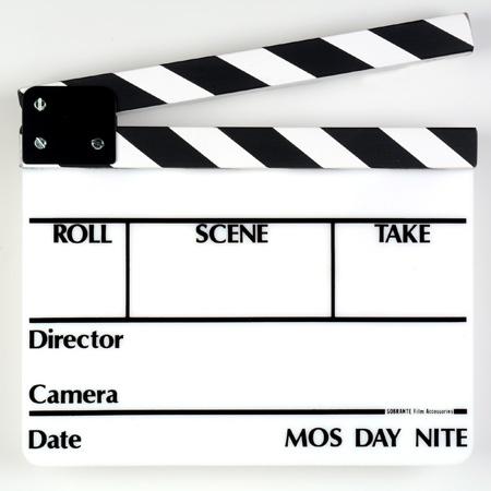 SLT-13 Director Slate Clapboard - White Film Slate with Black & White Sticks