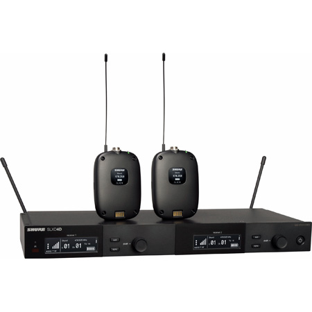 Shure SLXD14D-G58 Dual Combo Wireless Mic System with (2) SLXD1 Bodypacks & SLXD4D Receiver - 470-514Mhz