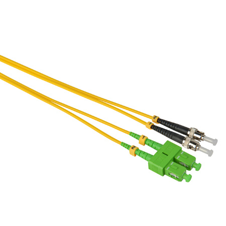 Camplex SMD9-ASC-ST-001  APC SC to UPC ST Single Mode Duplex Fiber Optic Adapter Cable  - Yellow - 1 Meter