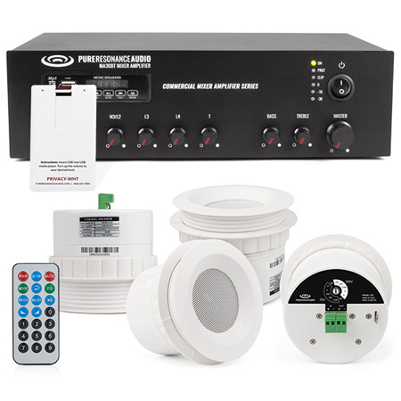 Pure Resonance Audio SMSS-4C3MA30BTPRIVACYWHT Sound Masking System with 4 C3 Ceiling Speakers - White