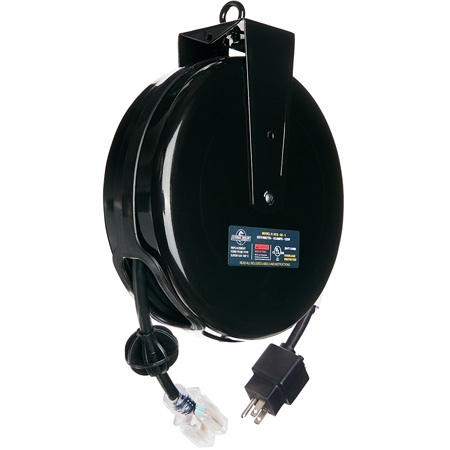 Stage Ninja STX-20-1 Retractable Power Reel With Single-Tap Head and Circuit Breaker (12/3 AWG) - Black - 20 Foot