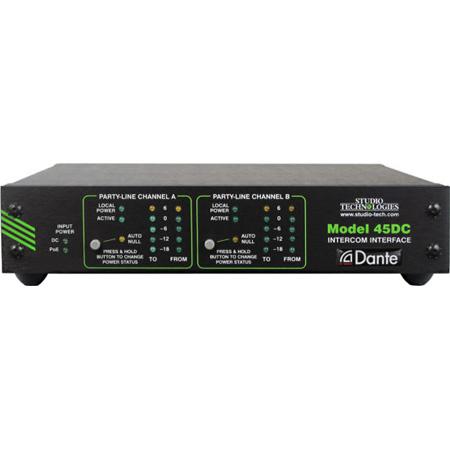 Studio Technologies Model 45DC Dante to 2-Channel Party Line Intercom Interface