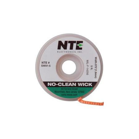 NTE SW01-25 No-Clean Solder Wick #3 Green 0.075 Inch Wide 25 Feet