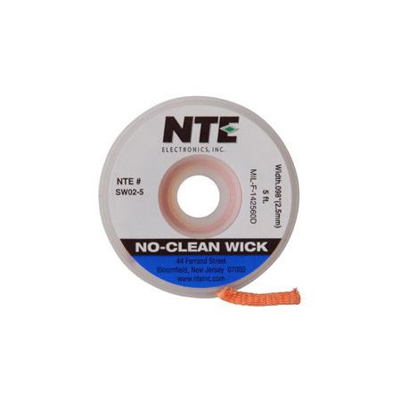 NTE SW02-25 No-Clean Solder Wick #4 Blue 0.098 Inch Wide 25 Feet