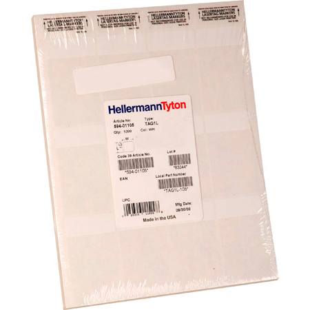 HellermannTyton TAG63L-105 1in X .5in X 1.33in White Self-Laminating Polyester 56 labels/sheet - 2500pk