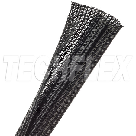 TechFlex F6N0.75BK-100 F6 Flexible Semi-Rigid Wrappable Split Braided Cable Sleeving - Black- 100 Foot